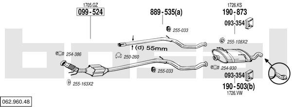 Bosal 960 SilencieuxCatalyseurIntermediaire 48 062 Yakarouler fgb6yY7