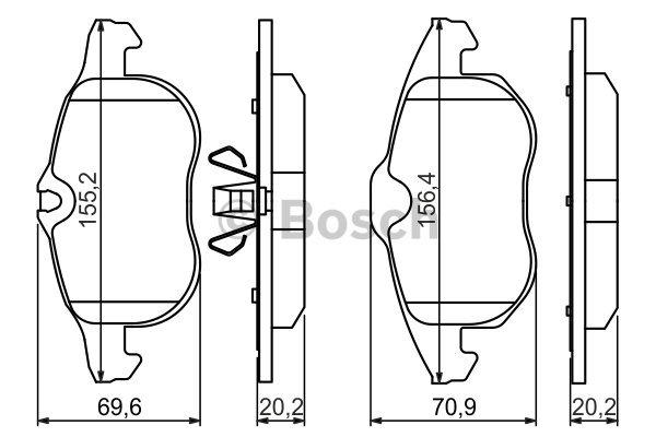plaquettes de frein avant bosch 0 986 494 044 jeu de 4. Black Bedroom Furniture Sets. Home Design Ideas